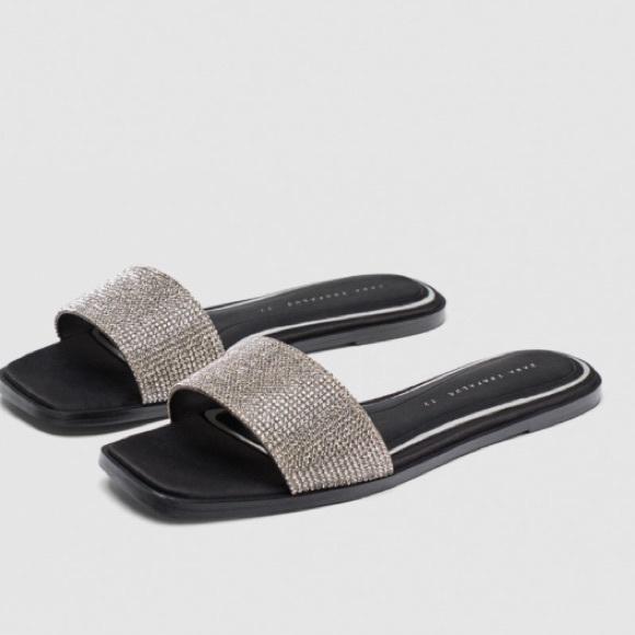 Zara scarpe    Shiny Diamant Slides  scarpe  Poshmark 83cc42
